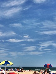 Another gorgeous day on the beach (Christine Amherd) Tags: blue summer beach clouds strand umbrella fun creativity bay sand sommer sunday relaxing australia melbourne australien ine passionate southmelbourne beachumbrella southmelbournebeach mypassion christinescreativityphotography christinesphotography