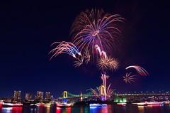 お台場レインボー花火 Odaiba Rainbow Hanabi 2014 (ELCAN KE-7A) Tags: bridge japan tokyo rainbow pentax fireworks illumination 日本 東京 daiba 花火 2014 台場 イルミネーション ライトアップ ペンタックス レインボー ブリッジ k5ⅱs