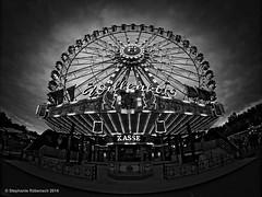 Ferris wheel II (stephanie_ruebenach) Tags: blackandwhite canon fair fisheye ferriswheel vignette riesenrad schwarzweis walimex8mm walimexfisheye