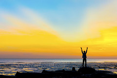silhouette man against sunset (sydeen) Tags: ocean life morning blue sunset sea sky orange sun sunlight man male beach nature water silhouette sunrise landscape person dawn freedom peace hand view arms outdoor dusk free adventure strength success muddy filed active