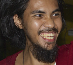 Filipino (mikeeliza) Tags: red brown white man smiling laughing hair beard happy goatee long skin top teeth philippines young handsome filipino mustache pinoy mikeeliza