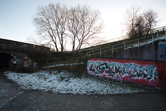 Klone / Zenor_TFA (tombomb20) Tags: street snow streetart green art underpass graffiti paint motorway m1 tunnel spray lane wakefield lettering graff klone 2014 tfa horbury zenor tombomb20