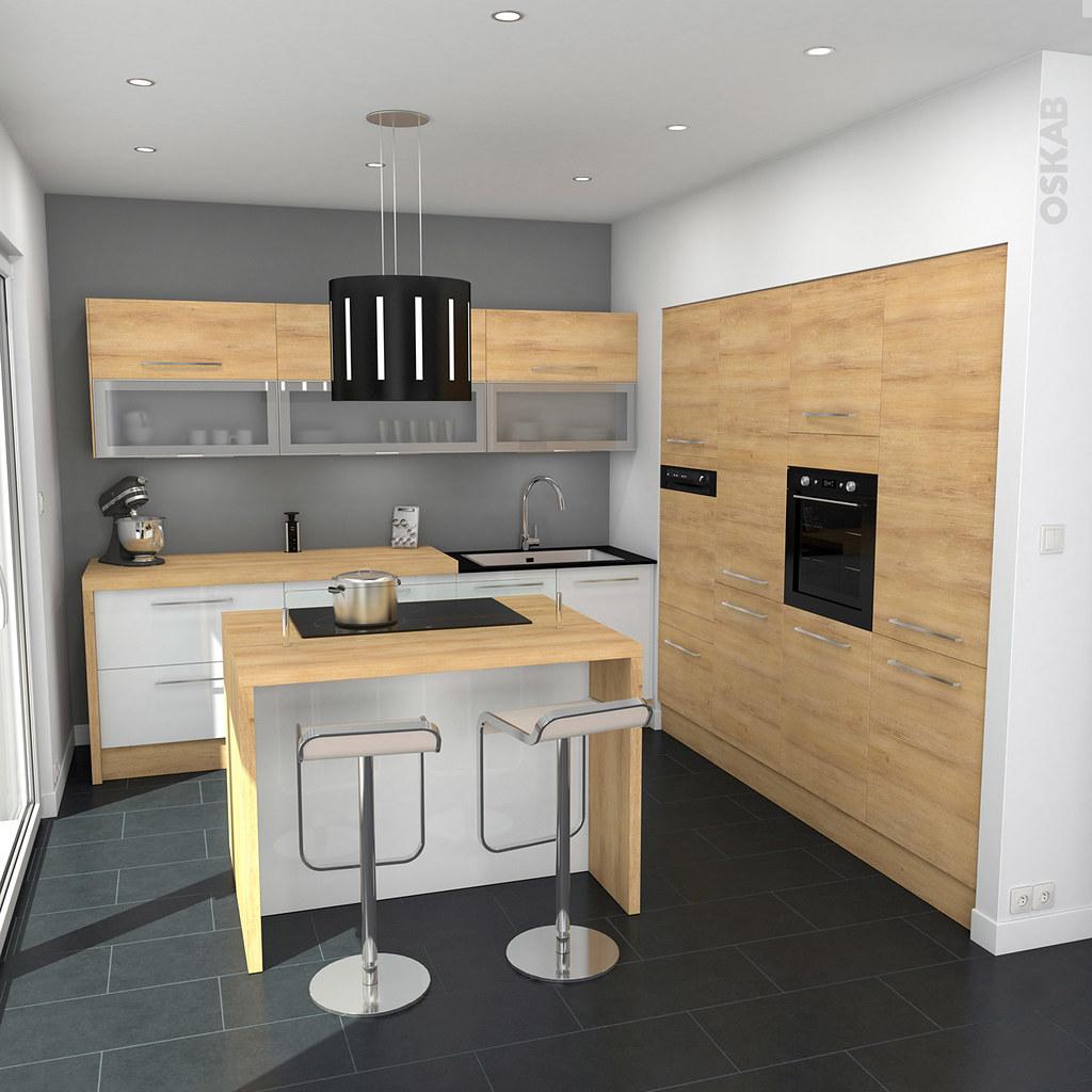 Cuisine blanche en bois delightful cuisine blanche plan - Dessus de comptoir de cuisine pas cher ...