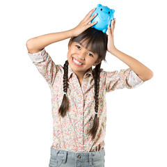 Happy little asian girl with piggy bank (Patrick Foto ;)) Tags: portrait people white money cute girl beautiful beauty smile childhood female studio asian fun piggy happy person one pig kid coin holding pretty child little expression background small daughter young adorable happiness bank save concept financial investment isolated banking finance