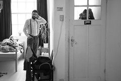 Rear window (Laura Febr Diciena) Tags: morning portrait blackandwhite bw white black men byn blancoynegro blanco maana window boys monochrome amsterdam breakfast ventana monocromo nikon room negro daily double rearwindow waking habitacin da doble wakinglife diptico d3000