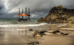 Rig in Corbletts Bay after a storm, Alderney (neilalderney123) Tags: cloud storm beach weather olympus rig alderney omd corbletts 2016neilhoward