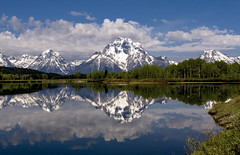 Oxbow Bend (Irwin Scott) Tags: morning lake reflection spring wyoming snowymountain grandtetonnationalpark gtnp oxbowbend mtmoran sitll