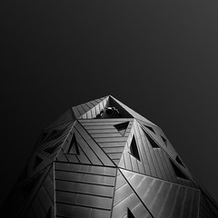 ba(bell) tower (gkphotography.lt) Tags: city light sky urban blackandwhite abstract black holland building church netherlands monochrome lines architecture triangles square landscape rotterdam fuji angle geometry minimal forms minimalism minimalistic pauluskerk silverefexpro skancheli fujixt1