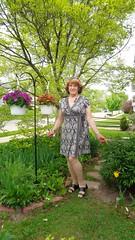 Lawn Ornament (Laurette Victoria) Tags: flowers woman pose garden dress auburn milwaukee laurette