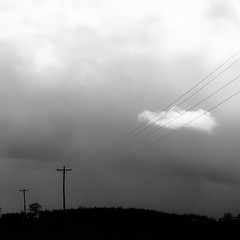 Telephone Lines and Cloud (noahbw) Tags: light sky blackandwhite bw storm abstract monochrome weather silhouette clouds square landscape blackwhite spring still nikon quiet natural farm horizon stormy minimal minimalism stillness d5000 noahbw