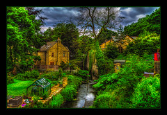 The Stream (Kevin From Manchester) Tags: trees sky building water beautiful architecture clouds stream village northwest lancashire hdr canon1855mm edgworth kevinwalker canon1100d
