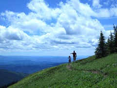 What a wonderful world (Ruth and Dave) Tags: sky mountain dave clouds view path father daughter panoramic trail alpine valley hiker pointing sunpeaks catrin sunpeaksresort todmountain