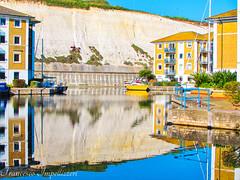 Reflections (Francesco Impellizzeri) Tags: england cliff water marina reflections landscape boats brighton