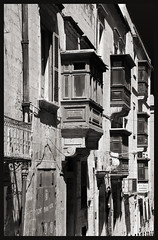 Valletta Street (albireo 2006) Tags: valletta malta blackwhitephotos blackandwhite blackandwhitephotos blackwhite bw balconies