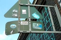 Antwerp Stickers 2 (rogerpb) Tags: stickerart lumix dmc art antwerp antwerpen anvers amberes belgium belgie belgique belgica urban tourism sightseeing flanders vlaanderen flandres city street signs text lettering streetphotography panasoniclumixdmctz8