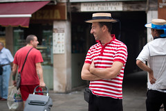 Side_view (eli calacuda) Tags: venice gondola italy urban boat portrait man smile hats stripes