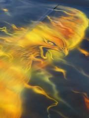 Wheaton, IL, Cantigny Park Classic Car Show, Hood Painting, Eagle (Mary Warren (7.4+ Million Views)) Tags: wheatonil cantignypark classiccars car automobile yellow eagle hood art painting