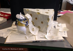 Big Cheese at the studio (Carlos N. Molina - Paper Art) Tags: christmas paperart lordtaylor bookart windowart papersculptures carlosnmolina kirigamiorigami