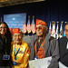 (L-R) Interior Solicitor Hilary Thompkins, Navajo Code Talkers David E. Patterson Sr., Bahe Ketchum and President Ben Shelly at the White House Tribal Nations Conference. Dec. 3, 2014. Photo by Jared King.