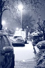 Looking a bit like Christmas ..... (Idreamofpies) Tags: road christmas street uk light england snow tree cars monochrome night canon snowflakes evening streetlight day cheshire p
