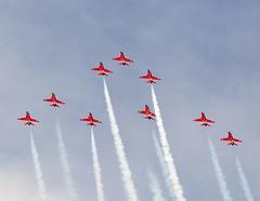 Red Arrows (Bernie Condon) Tags: tattoo plane flying team display hawk aircraft aviation formation airshow arrows reds bae trainer redarrows raf aerobatic ffd fairford riat airtattoo rafat riat14