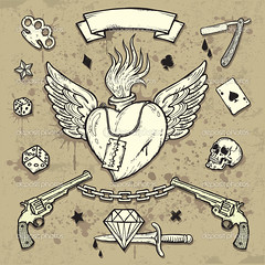 Old School by Gold Line Tattoo (Gold Line Tattoo) Tags: old urban dice gambling art monochrome sign set tattoo ink vintage stars skull graffiti drops wings gun heart graphic symbol background grunge ace cartoon decoration style dirty retro diamond pirate weapon pistol ribbon splash drawn insignia isolated element swallows revival zzzaamaabmepfdcahegbhehegpgpcagfgmgfgngfgohehdcafdeffefpeigfgbhche
