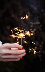 51/52 ~Sparkle~ (majagrilj) Tags: christmas red vertical 35mm project hand seasonal sparkle nails sparkler 52