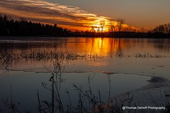 Sunset on Jan 1st 2015 (Thomas DeHoff) Tags: sunset water frozen sony iowa software topaz a700