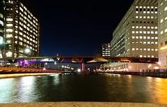 Night Bridge (Deepgreen2009) Tags: city light urban london night evening railway blocks canarywharf dlr