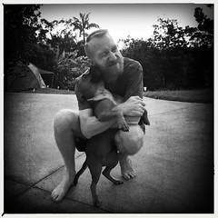 Jaz giving daddy big sloppy kisses. (Dave_Gray) Tags: blackandwhite dog fluffy kisses jazmin