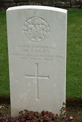 M. Sales, Royal Inniskilling Fusiliers, 1916, War Grave, Connaught Cemetery (PaulHP) Tags: cwgc somme ww1 war graves headstone france corporal m sales service number 10412 1st july 1916 royal inniskilling fusiliers 2nd bn battalion connaught cemetery thiepval military world one grave