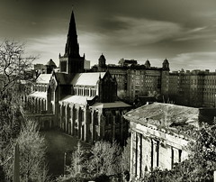 St. Mungo's (creditflats) Tags: city white black church st stone skyline pen scotland high cathedral glasgow dramatic olympus spire filter copper scape necropolis kirk mungo stmungos presbytery ep5 saintkentigern