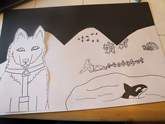 Iditarod Art Project for 4th Grade (eclectic_chica) Tags: portrait art dogs watercolor landscape chalk mixed media drawing pastel lesson sled iditarod