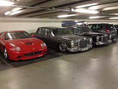 Mercedes 600 W100 x2 Ferrari 575 Superamerica (mangopulp2008) Tags: mercedes 600 w100 avenue foch paris france