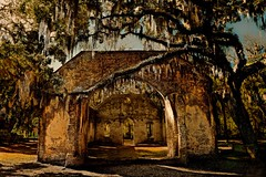 Chapel of Ease (Marie.L.Manzor) Tags: morning travel trees history church nature architecture backlight sunrise wow landscape us oak nikon mood south ruin southcarolina spanishmoss historical sthelena deepsouth lowcountry marielmanzor nikon610