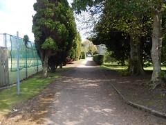 Path through Kinburn Park, 2016 May 12 (Dunnock_D) Tags: park uk trees green grass fence scotland unitedkingdom fife britain path standrews footpath tenniscourt kinburnpark
