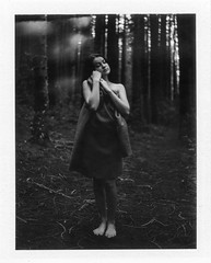 Dark Forest (Ca$hreno) Tags: portrait blackandwhite cold film monochrome forest dark polaroid photo fuji photoshoot emotion availablelight naturallight lightleak portraiture mysterious instant epson filmcamera v700 polaroid195 fp3000b emotionalportrait photoborder