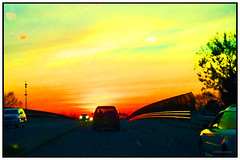 Sunset Highway (1 - 3) (Stephenie DeKouadio) Tags: sunset sky urban color colour art yellow canon painting photography virginia colorful image outdoor imagery darkandlight