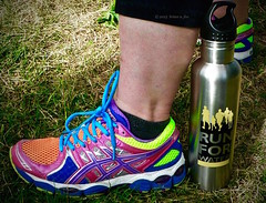 Psychedelic Runners (the mindful fox) Tags: color colour runners waterbottle runningshoes runforwater runforwaterabbotsford