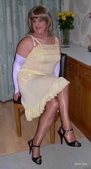 2 Ripples (janegeetgirl2) Tags: stockings yellow contrast vintage tv high glamour opera bra crossdressing full tgirl gloves transvestite copper heels slip crossdresser ts nylon petticoat stilettos fully nylons garters fashioned seams