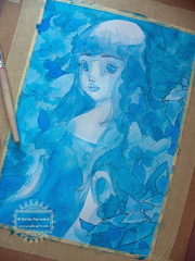 In the Garden of Blue Butterflies - wip2 (The Girl with the Flaxen Hair) Tags: blue illustration garden watercolor painting ooak traditionalart workinprogress butterflies surreal wip etsy lowbrow japanesegirl animegirl animemanga etsyshop natiart inkandwatercolor