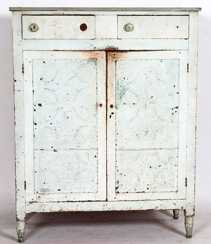 12 Tin High Leg Pie Safe with Old Blue Paint ($990.00)