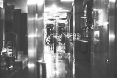 through a window (AOP fotografia) Tags: street door reflection window glass monochrome look stairs composition 35mm reflex twins space streetphotography double ombre planes fujifilm bianconero padova composizione overlapse