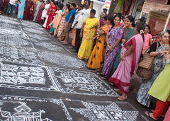 Admiring the kolams.jpg (melissaenderle) Tags: festival tamilnadu kolam asia mylapore