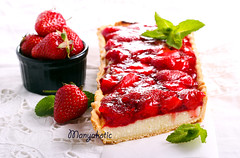 Strawberry jelly topping cheesecake tart (manyakotic) Tags: red food cake breakfast dessert strawberry berry sweet cheesecake homemade slice snack pastry brunch jelly treat ricotta creamcheese tarts baked topping