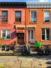 Side by Side (street level) Tags: nyc newyorkcity brooklyn streetscene gothamist greenpoint rowhouse iphoneography