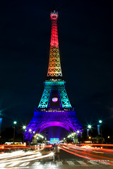 Eiffel Tower - Tribute to Orlando victims (Franois Escriva) Tags: street city blue gay light red orange paris france green tower cars yellow architecture night clouds orlando cityscape tour purple attack eiffel terrorism hommage pulse