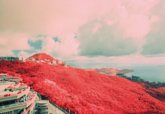 The Peak - EIR 03 (bluetrayne) Tags: city red skyline clouds skyscraper landscape hongkong asia cityscape infrared 香港 colorinfrared analogphotography victoriapeak kodakeir infraredphotography ektachromeinfrared
