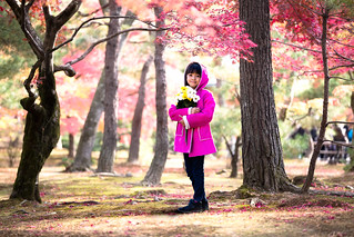 Asian little girl standing in a park