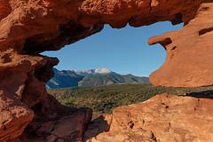 Window to America's Mountain (Matt Thalman - Valley Man Photography) Tags: mountain snow window rock forest colorado view gardenofthegods coloradosprings 14er pikespeak siamesetwins